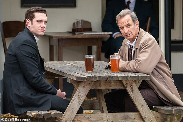 Robson Green and Tom Brittney enjoy a pint filming for Grantchester S6 as Geordie and Will