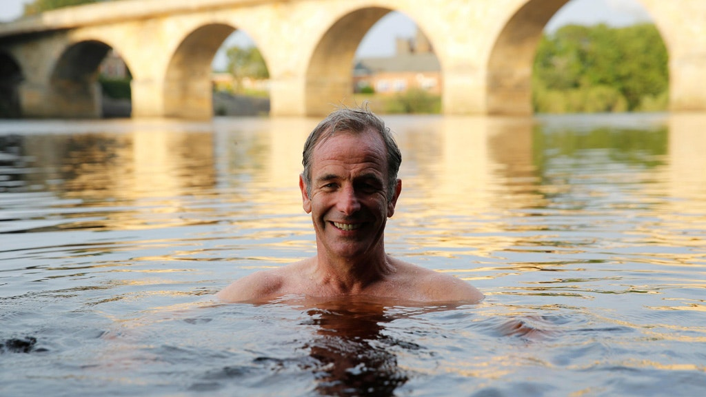 Robson Green in the River Tyne at Corbridge on the route of Hadrian's Wall