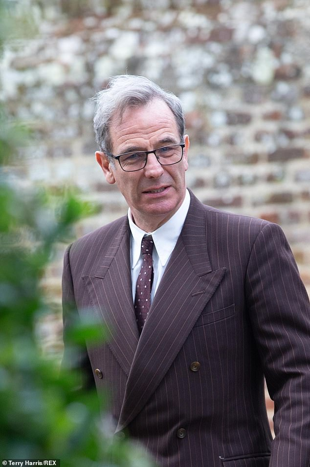 In character: The actor, 56, who plays DI Geordie Keating, sported a brown pinstripe suit as he continues filming scenes for series six of the ITV drama