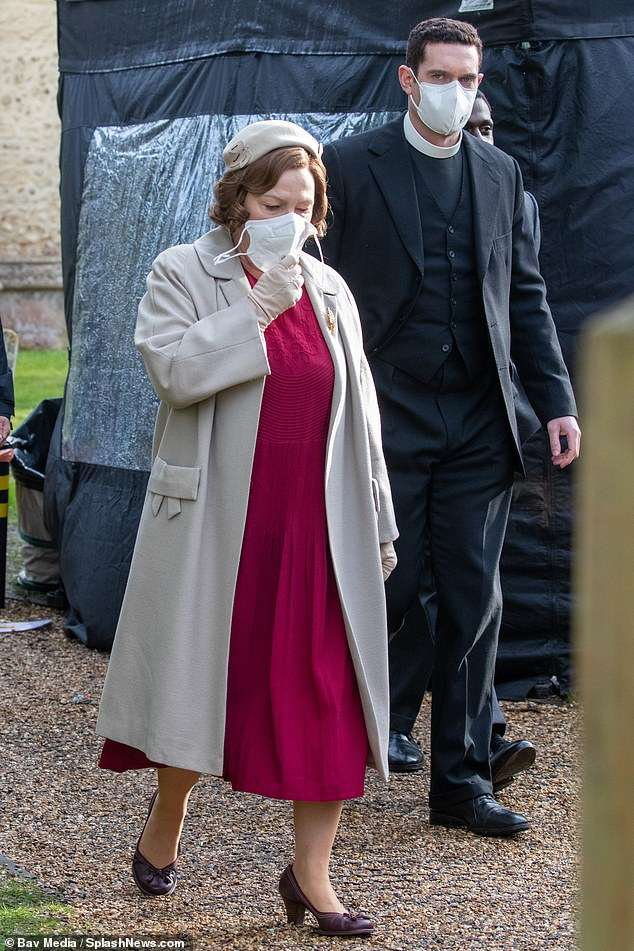 Co-stars: Tom was also seen posing with actress Tessa Peake-Jones, who plays Mrs Sylvia Maguire