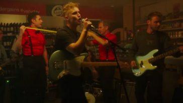 Robson Green and Sam Fender in 'Howdon Aldi Death Queue' video