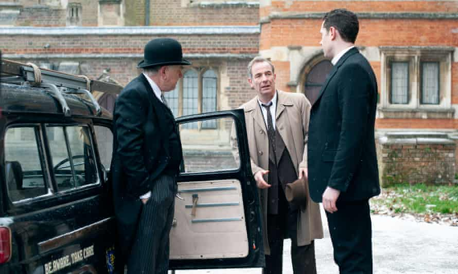 Alan Williams as Bernard Allison, Robson Green as Geordie Keating and Tom Brittney as Rev Will Davenport in Grantchester S6 E6.
